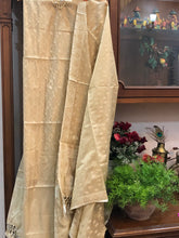 Load image into Gallery viewer, GOLDEN COTTON SILK BANARASI HANDLOOM THREE PIECE SUIT SET