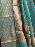 BLUE COTTON SILK BANARASI HANDLOOM THREE PIECE SUIT SET