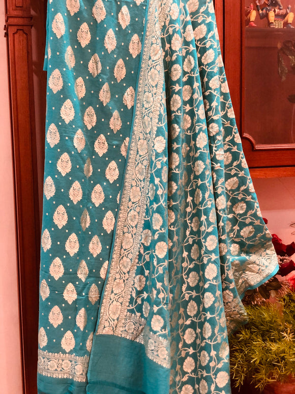 AQUA GREEN KHADDI GEORGETTE SILK BANARASI HANDLOOM TWO PIECE SUIT SET