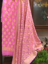 Load image into Gallery viewer, PINK KHADDI GEORGETTE SILK BANARASI HANDLOOM THREE PIECE SUIT SET