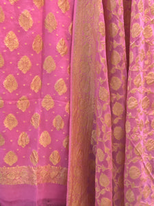 PINK KHADDI GEORGETTE SILK BANARASI HANDLOOM THREE PIECE SUIT SET