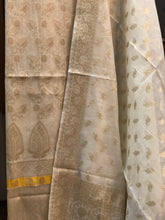 Load image into Gallery viewer, WHITE COTTON SILK BANARASI HANDLOOM THREE PIECE SUIT SET
