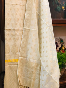 WHITE COTTON SILK BANARASI HANDLOOM THREE PIECE SUIT SET