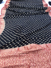Load image into Gallery viewer, Black Khaddi Chiffon Georgette Silk Banarasi Handwoven Saree