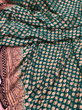 Load image into Gallery viewer, Jade Green Khaddi Chiffon Georgette Silk Banarasi Handwoven Saree