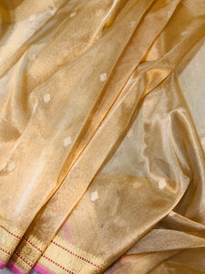 GOLDEN BANARASI HANDLOOM PURE TISSUE ORGANZA SAREE