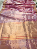 PURPLISH PINK BANARASI HANDLOOM PURE TISSUE ORGANZA SAREE