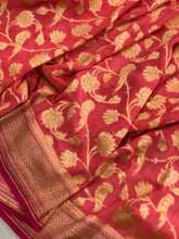 Load image into Gallery viewer, PEACHISH PINK BANARASI HANDLOOM PURE KHADDI GEORGETTE SILK SAREE(SHIKARGAH COLLECTION)