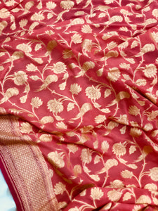 PEACHISH PINK BANARASI HANDLOOM PURE KHADDI GEORGETTE SILK SAREE(SHIKARGAH COLLECTION)