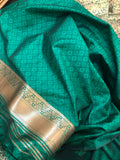GREEN BANARASI HANDLOOM SOFT SILK SAREE