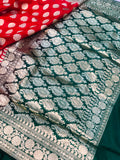 RED BANARASI HANDLOOM SATIN SILK SAREE CONTRAST GREEN BORDER & BLOUSE