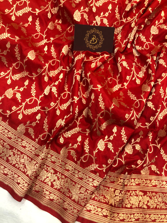 RED PURE BANARASI HANDLOOM KATAN SILK SAREE