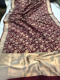 BURGUNDY PURE BANARASI HANDLOOM KATAN SILK SAREE
