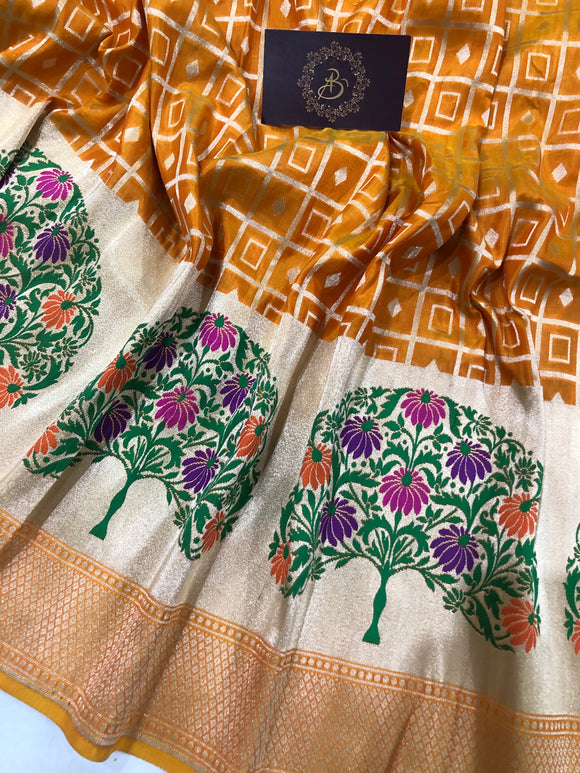 ORANGE PURE BANARASI HANDLOOM KATAN SILK SAREE