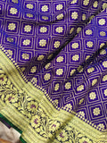 ROYAL BLUE BANARASI HANDLOOM SATIN SILK SAREE CONTRAST GREEN BORDER & BLOUSE