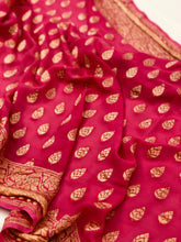 Load image into Gallery viewer, Deep Pink Khaddi Chiffon Georgette Silk Banarasi Handwoven Saree