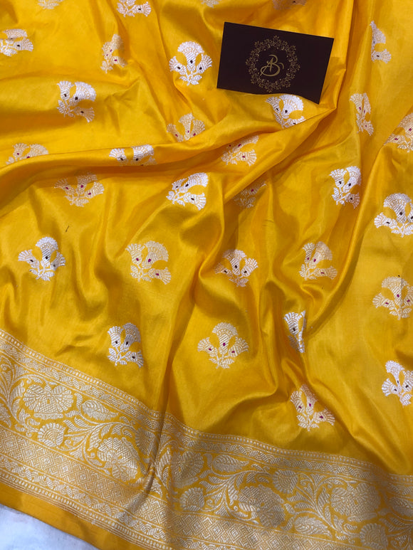 YELLOW BANARASI HANDLOOM KATAN SILK SAREE (PATANG)