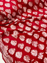 Load image into Gallery viewer, Maroonish Red Khaddi Chiffon Georgette Silk Banarasi Handwoven Saree