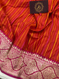 ORANGISH RED PURE BANARASI HANDLOOM KATAN SILK SAREE