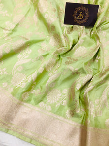 PISTA GREEN PURE BANARASI HANDLOOM KATAN SILK SAREE