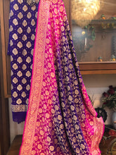 Load image into Gallery viewer, PURPLE KHADDI GEORGETTE SILK BANARASI HANDLOOM SUIT WITH SHADED DUPATTA
