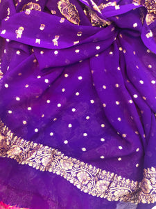 PURPLE KHADDI GEORGETTE SILK BANARASI HANDLOOM SUIT WITH SHADED DUPATTA