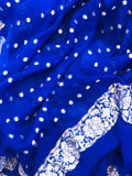 NAVY BLUE KHADDI GEORGETTE SILK BANARASI HANDLOOM SUIT WITH DUPATTA