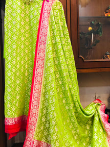 GREEN KHADDI GEORGETTE SILK BANARASI HANDLOOM SUIT WITH DUPATTA