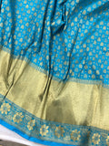 SKY BLUE BANARASI HANDLOOM COTTON SILK SAREE