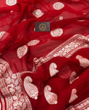RED BANARASI HANDLOOM PURE KHADDI CHIFFON GEORGETTE SILK SAREE