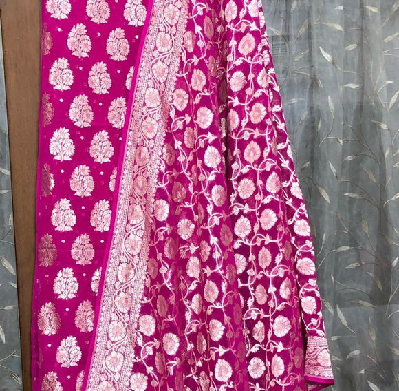 HOT PINK KHADDI GEORGETTE SILK BANARASI HANDLOOM TWO PIECE SUIT SET