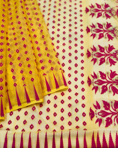 YELLOW HANDLOOM COTTON JAMDANI SAREE