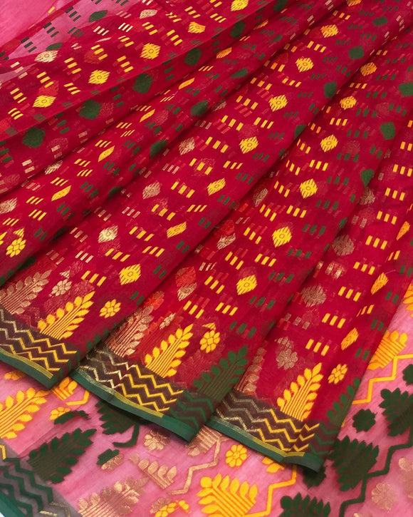 RED HANDLOOM COTTON JAMDANI SAREE