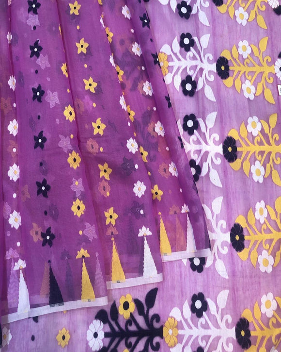 PURPLE HANDLOOM COTTON JAMDANI SAREE