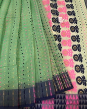 Load image into Gallery viewer, PASTEL SEA GREEN HANDLOOM COTTON JAMDANI SAREE