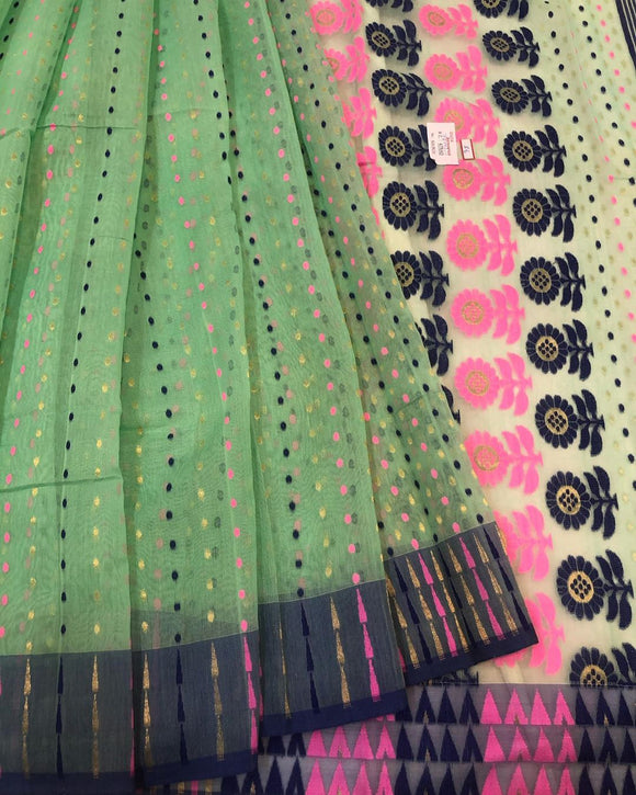PASTEL SEA GREEN HANDLOOM COTTON JAMDANI SAREE
