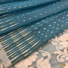 Load image into Gallery viewer, SKY BLUE HANDLOOM COTTON JAMDANI SAREE
