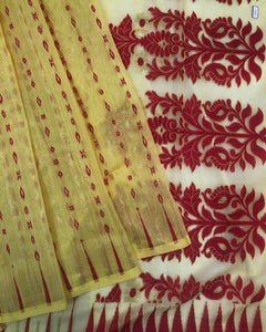LEMON YELLOW HANDLOOM COTTON JAMDANI SAREE