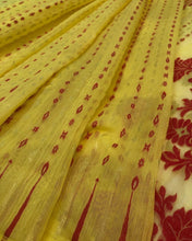Load image into Gallery viewer, LEMON YELLOW HANDLOOM COTTON JAMDANI SAREE