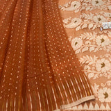 ORANGE HANDLOOM COTTON JAMDANI SAREE