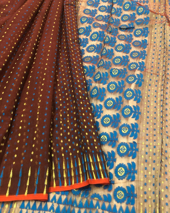BROWN HANDLOOM COTTON JAMDANI SAREE