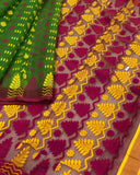GREEN HANDLOOM COTTON JAMDANI SAREE