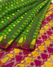Load image into Gallery viewer, GREEN HANDLOOM COTTON JAMDANI SAREE