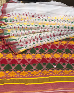 WHITE HANDLOOM COTTON JAMDANI SAREE