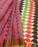 PINK HANDLOOM COTTON JAMDANI SAREE