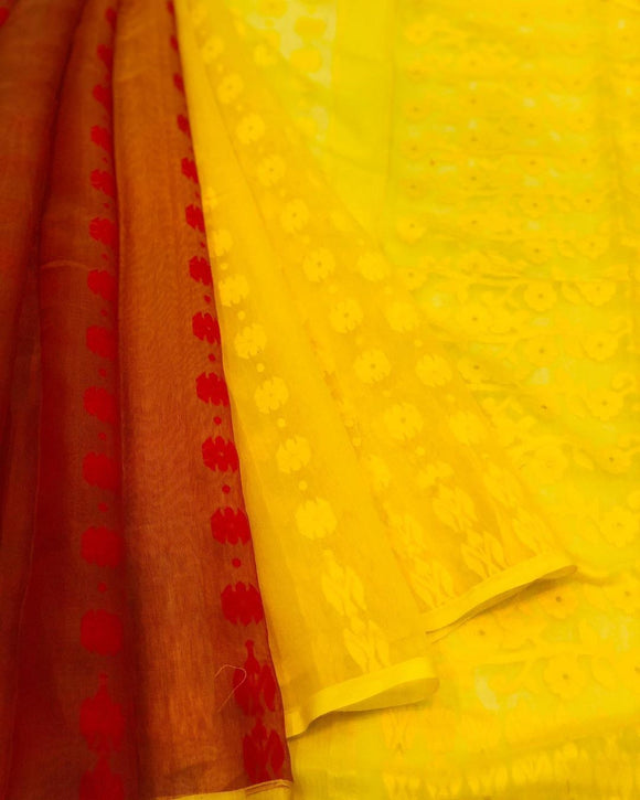 RED & YELLOW HALF HALF HANDLOOM COTTON JAMDANI SAREE