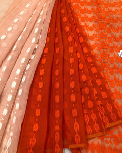 ORANGE & WHITE HALF HALF HANDLOOM COTTON JAMDANI SAREE