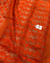 Load image into Gallery viewer, ORANGE & WHITE HALF HALF HANDLOOM COTTON JAMDANI SAREE
