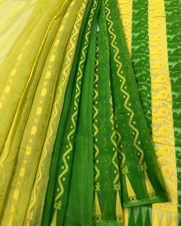 GREEN & YELLOW HALF HALF HANDLOOM COTTON JAMDANI SAREE