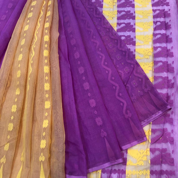 LAVENDER N YELLOW HANDLOOM COTTON JAMDANI SAREE